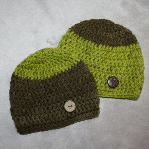 Brown and Lime 0-3 Month Crochet hats